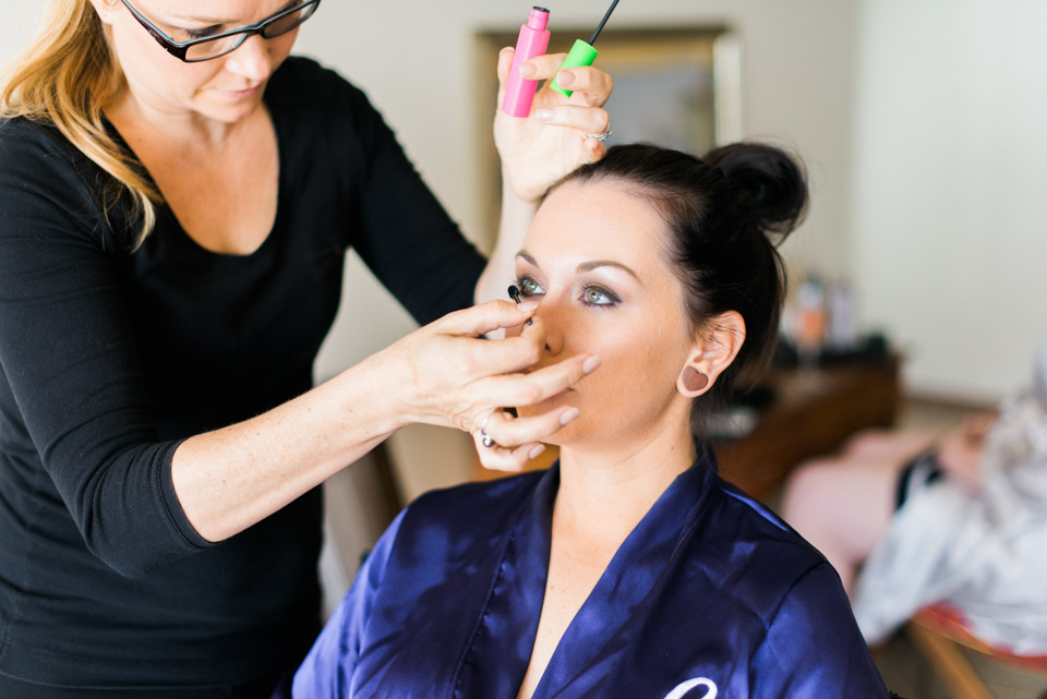 Hair and Makeup being applied by Rachelle and Luisa from Airlie Beach Bridal.