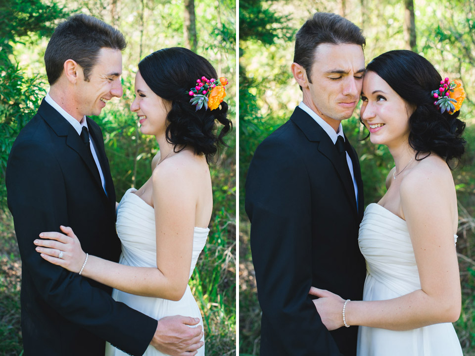 Photo of Danica and Ben laughing on their wedding day.