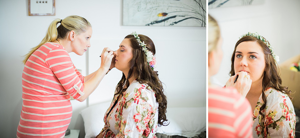 Bride getting makeup applied for wedding
