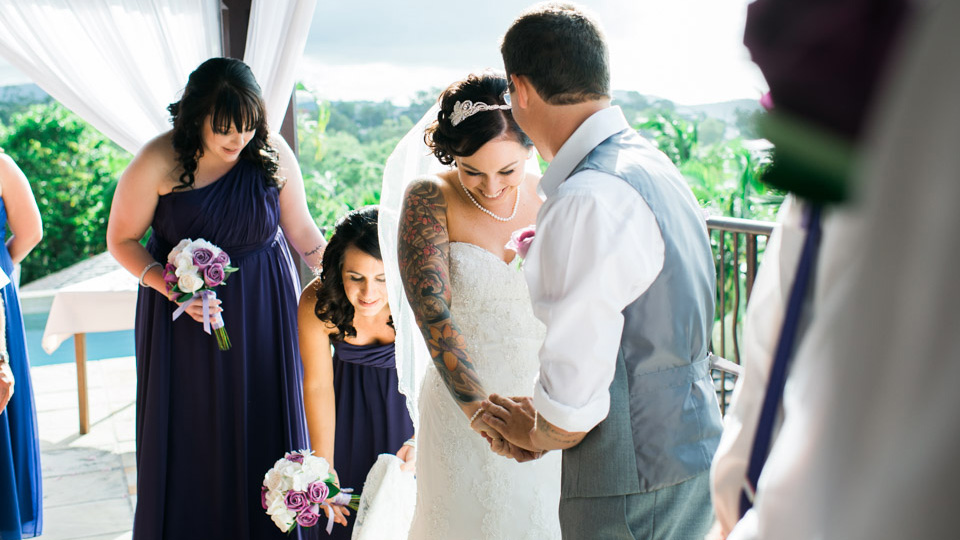 Bride and Groom at their Airlie Beach wedding ceremony photos.