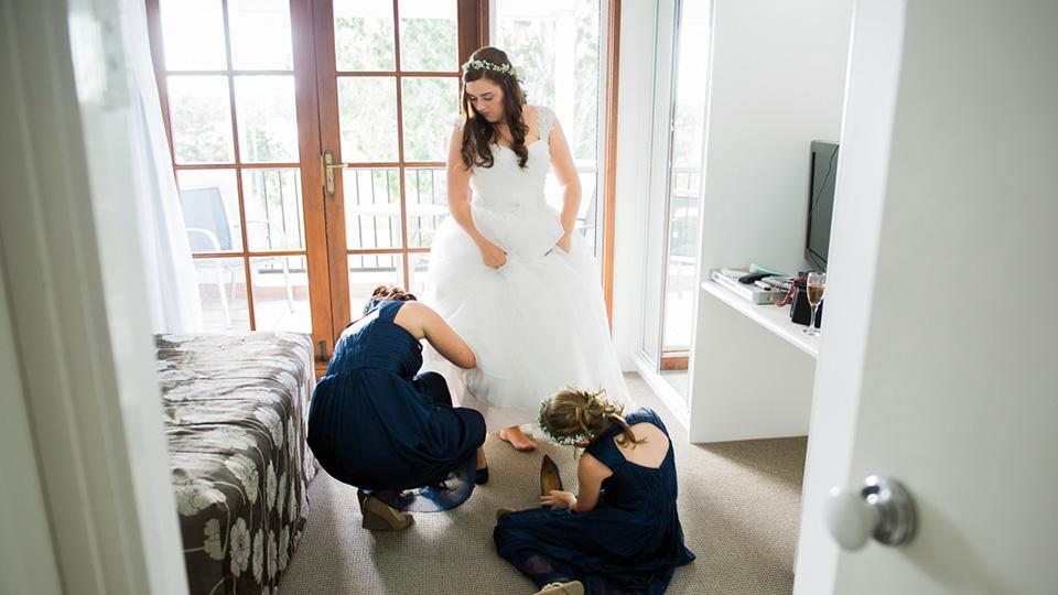Bride getting ready for her Noosa wedding