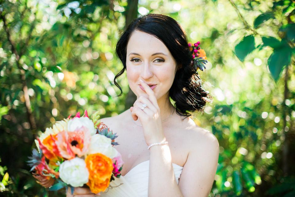 Danica  saying shoosh, at her surprise wedding