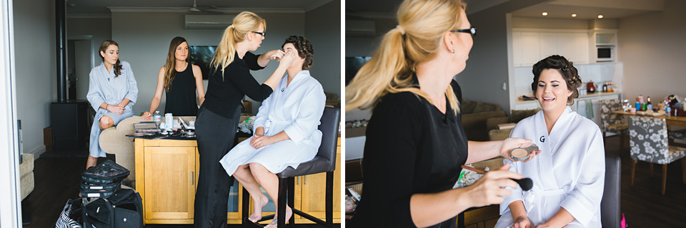 Bride getting her makeup put on