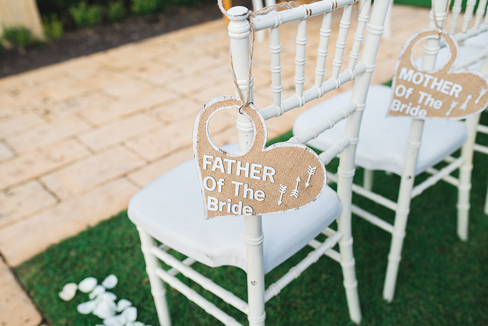 Father of the Bride sign on chair