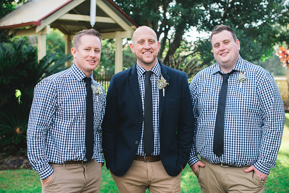Groom and Groomsmen at Flaxton Gardens