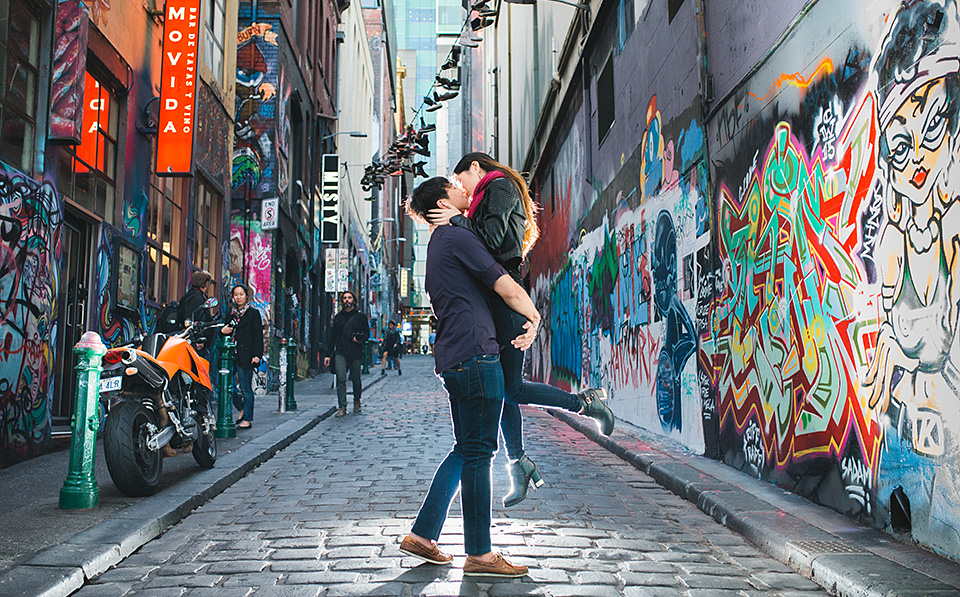 Photo of Bride and Groom in Hosier Lane in Melbourne for their wedding photos.