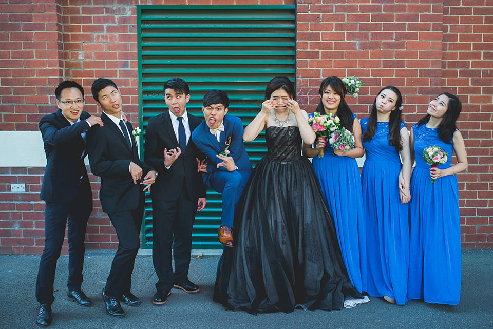 The bridal party pulling faces