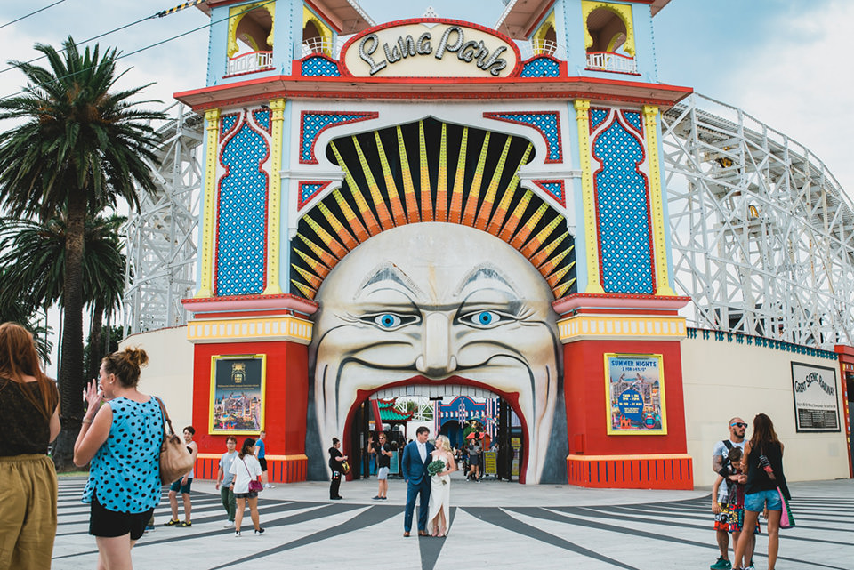 Anthea & James' Luna Park wedding photos.
