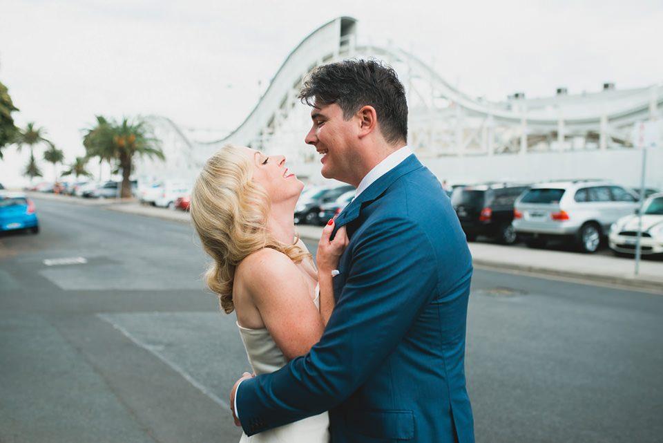 Anthea & James' Luna Park wedding photos in St Kilda, Victoria.