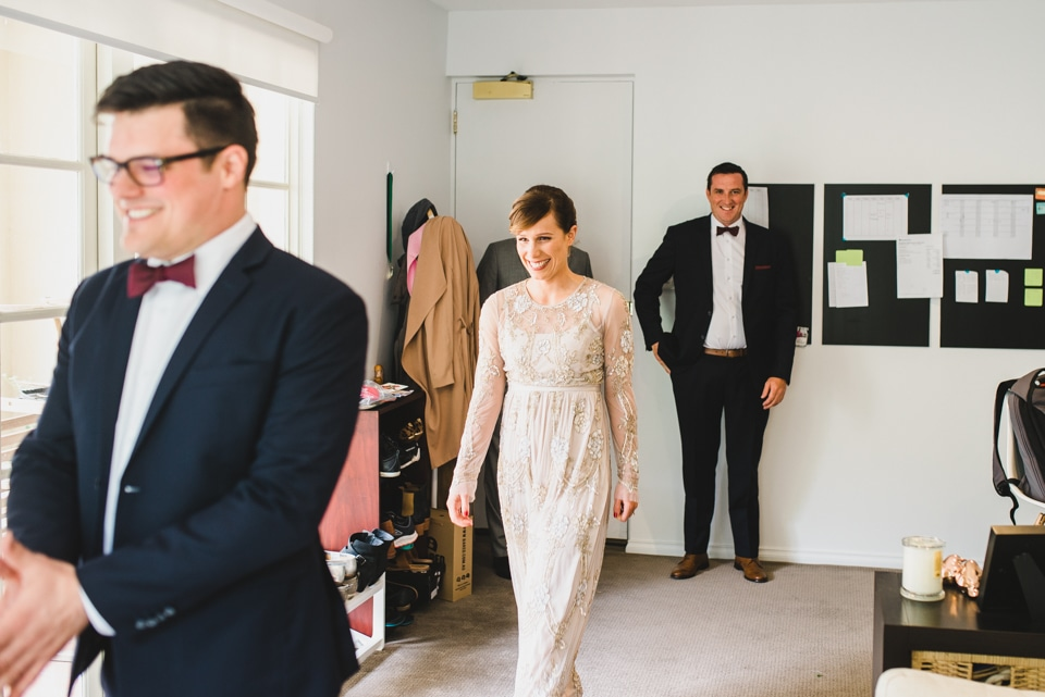 Charli & Andy's first look for their Prahran wedding.