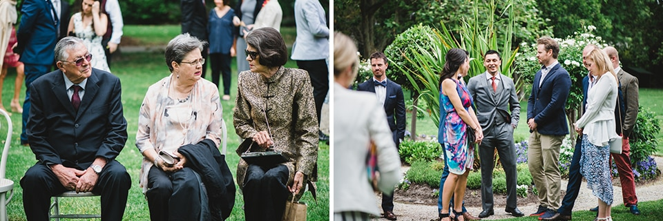 Guests mingling before the wedding ceremony in victoria gardens prahran.