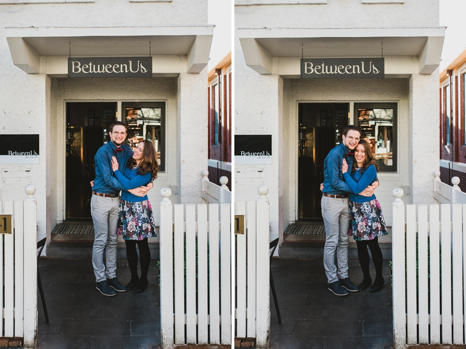 Kirsty & Tim hanging out at the Between Us cafe in Canterbury for their engagement shoot.