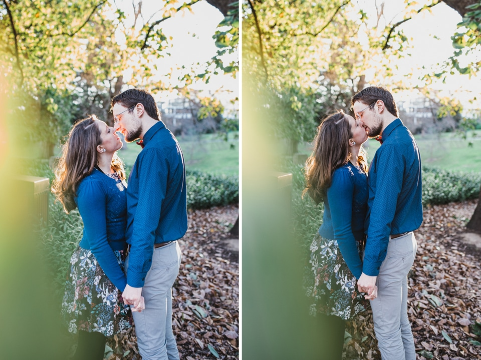 Portraits of Kirsty & Tim during their Canterbury Gardens engagement shoot.