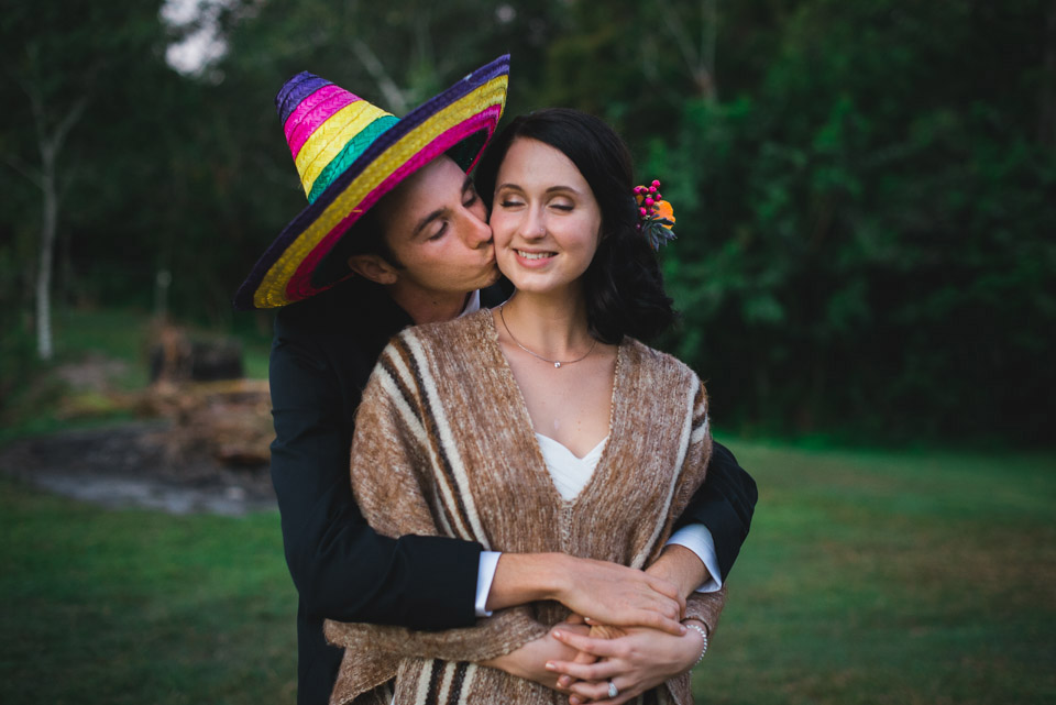 Danica and Ben dressed in their Mexican-themed wedding costumes.