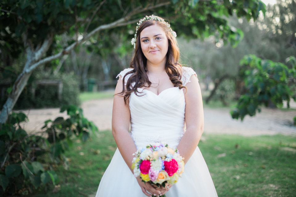 Portrait photo of the bride at her Noosa Wedding.
