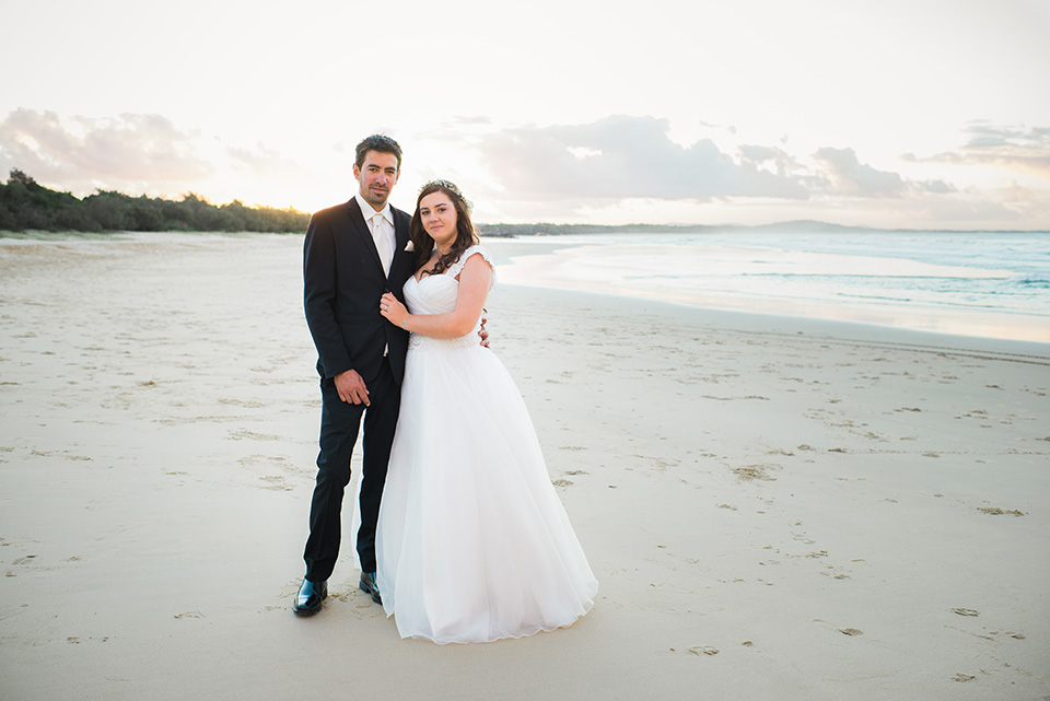 Wedding Portrait of Tenielle and Mick on Noosa main Beach