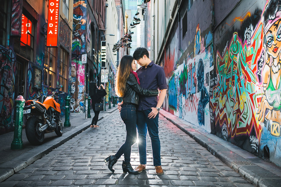 Melbourne City engagement shoot with Sabrina and Andy in Hosier Lane.