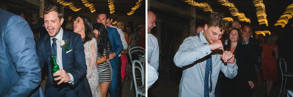 wedding guests dancing in a congo line