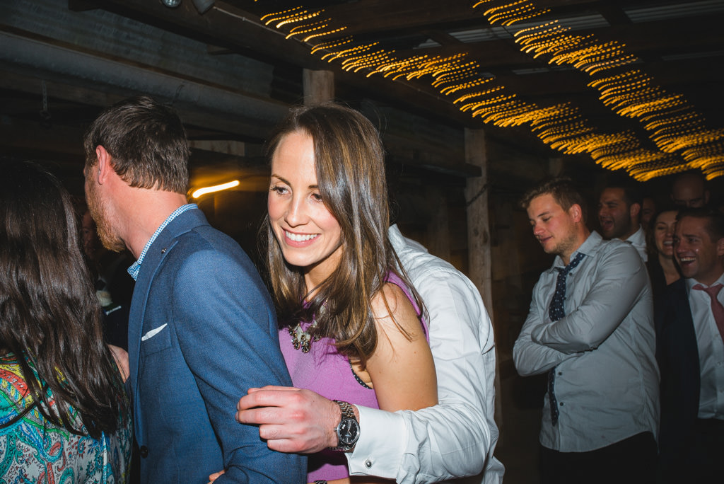 dancing in a barn at a wedding