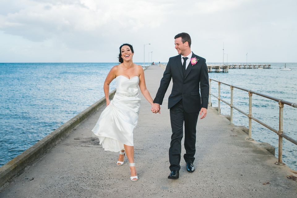 Wedding photography of Milli and Paul at St Leonard's Pier