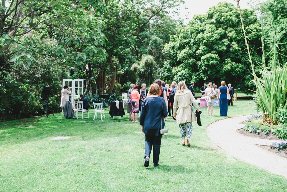 People arriving for the Victoria Gardens Prahran wedding ceremony.