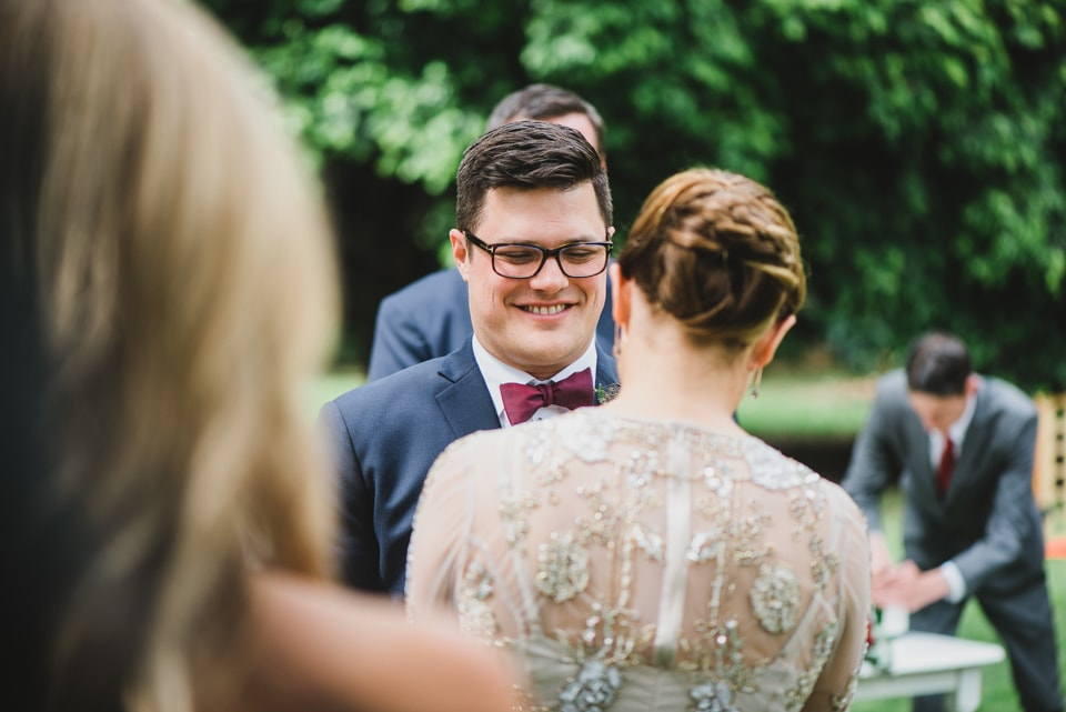 Groom smiling during his wedding. Victoria Gardens prahran wedding ceremony.
