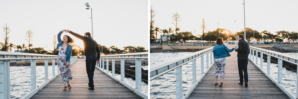 Alex & Sam dancing on the pier at Wellington Point in Brisbane, for their engagement shoot.