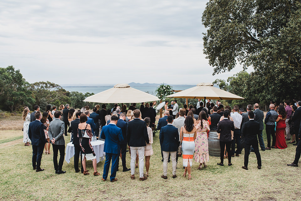 Terindah Estate wedding ceremony wide landscape photo of the sea.