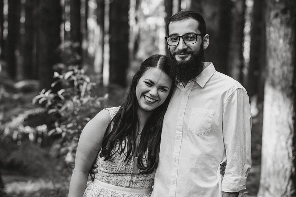 A portrait of Hayley & Nick, taken in Redwood Forest, Warburton.