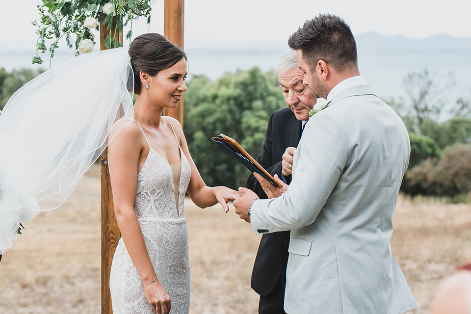 Chris putting the ring on his Bride.