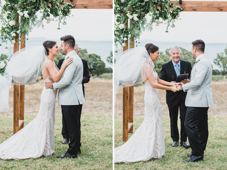 Bride and Groom smiling after their first kiss during the ceremony.