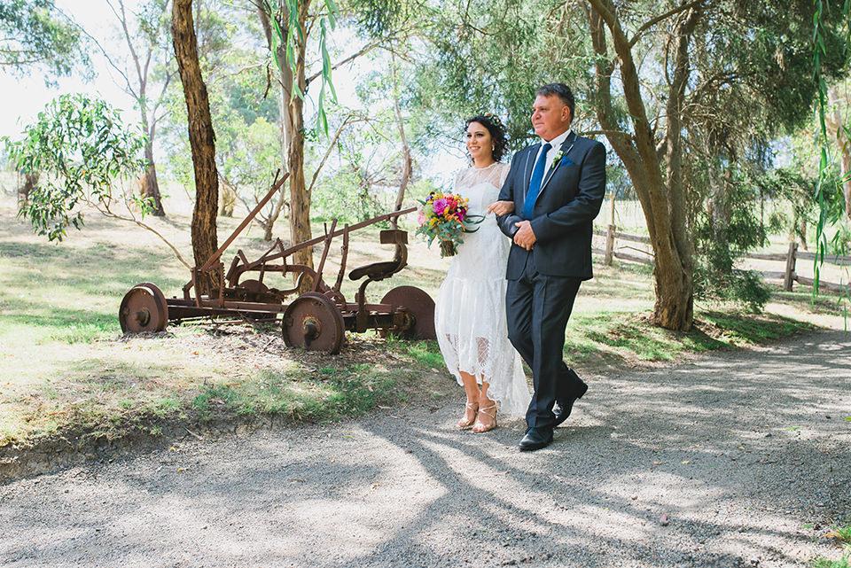Walking down the isle. Inglewood Estate wedding ceremony.