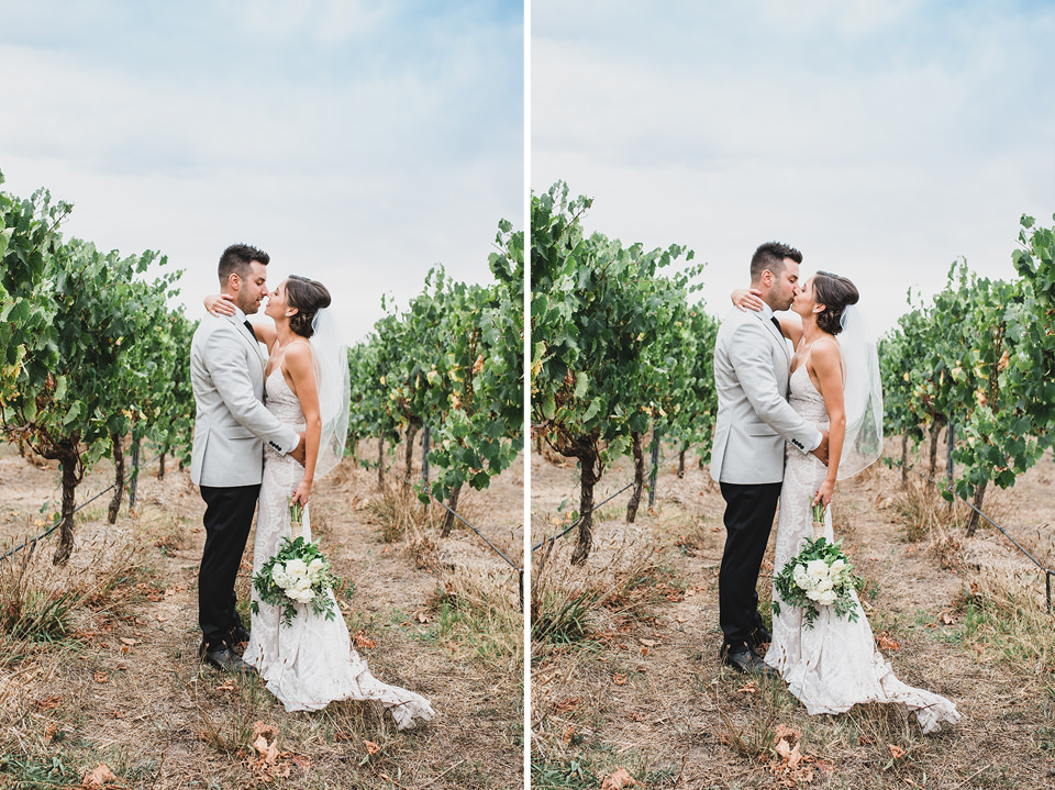 Ashlee & Chris kissing in the vineyard at Terindah Estate during their wedding photos.
