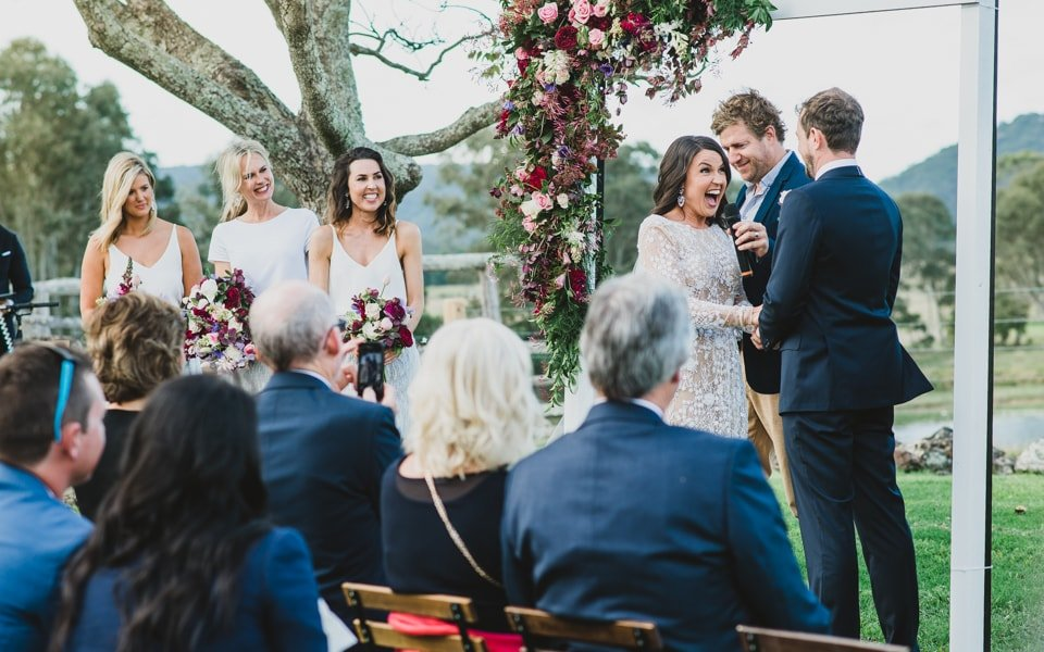 Photo of a wedding ceremony by Yarra valley wedding photographer, lionheart photography.