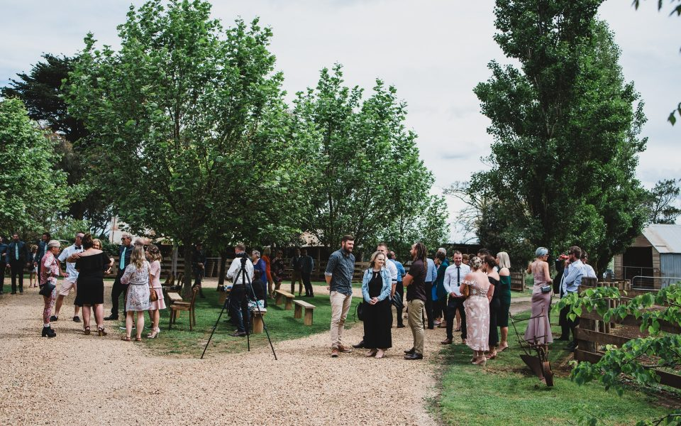 Guests at Quirindi Stables waiting for the wedding to start.