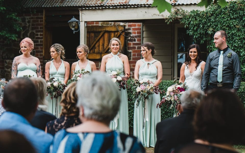 The bridal party during the wedding ceremony.
