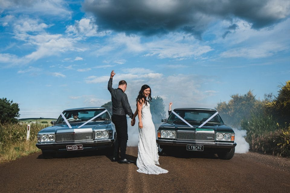 Burnouts in the wedding cars