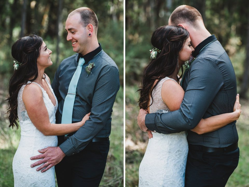 Bride and Groom photos in the Forest in Daylesford.