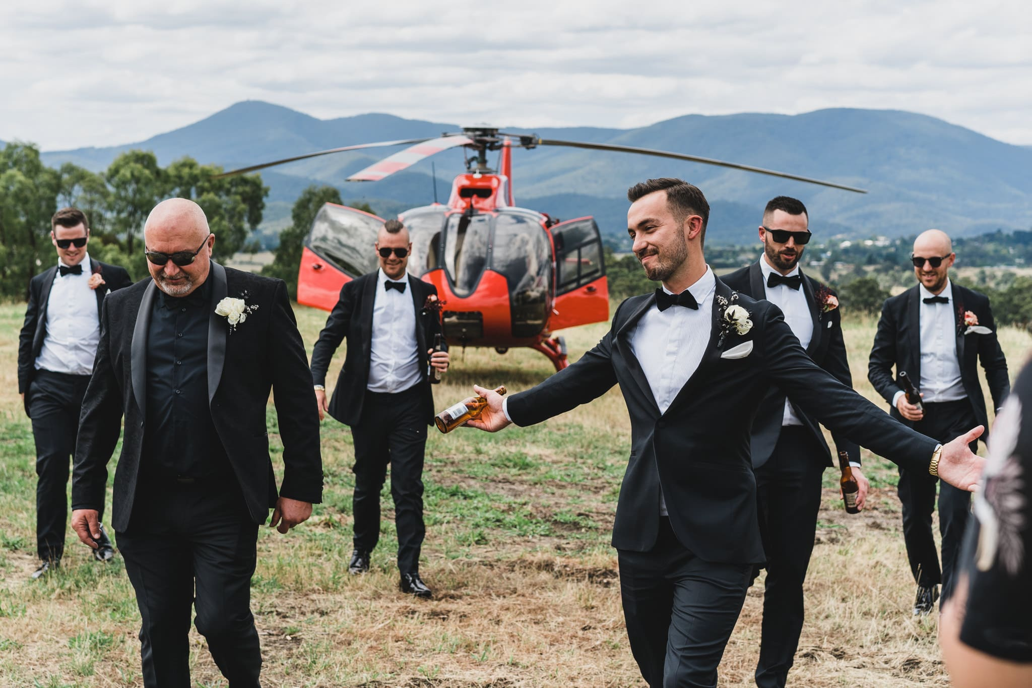 Adam flew in via helicopter for the first look