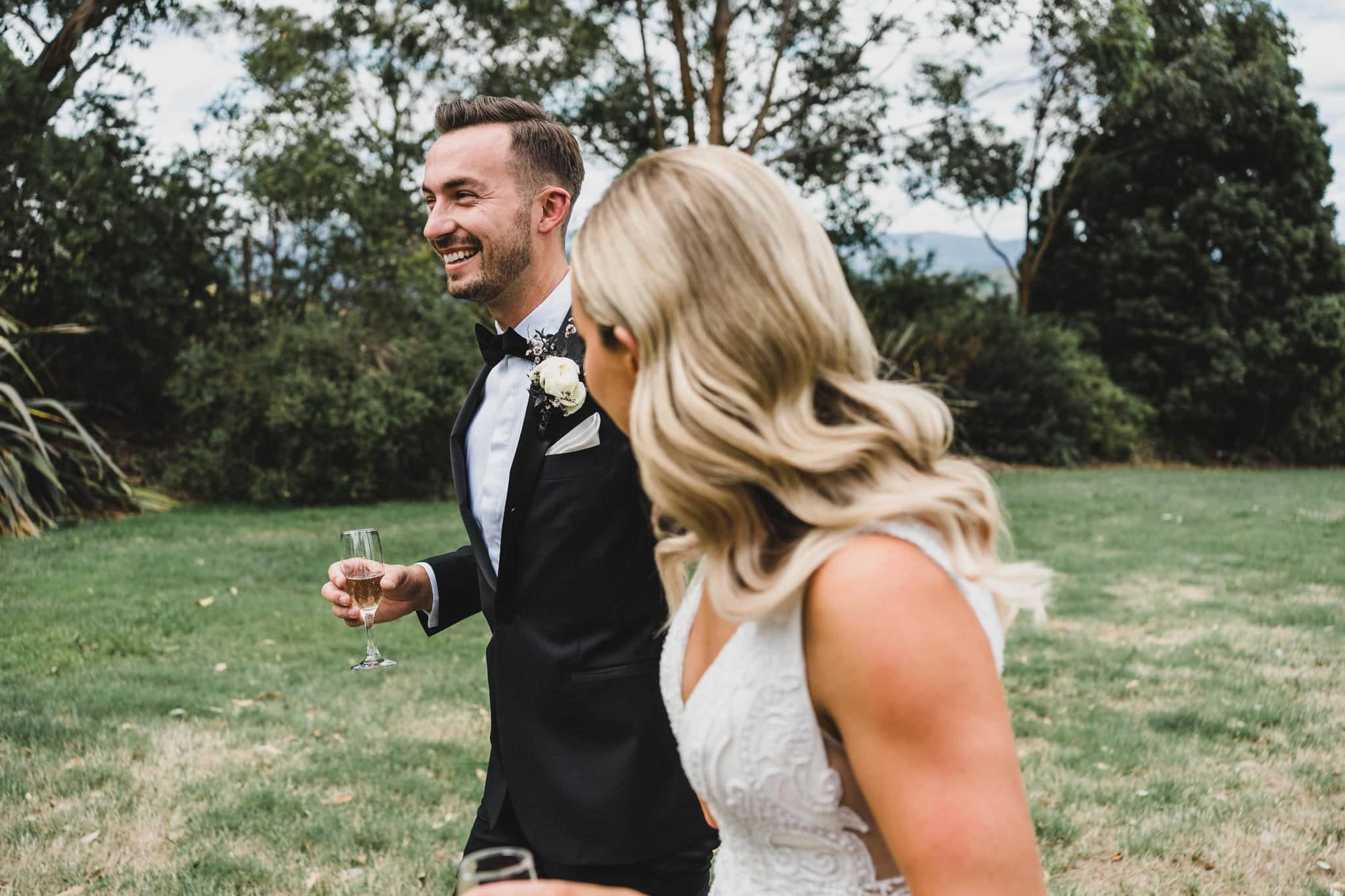 The bride and groom seeing each other for the first time during their first look