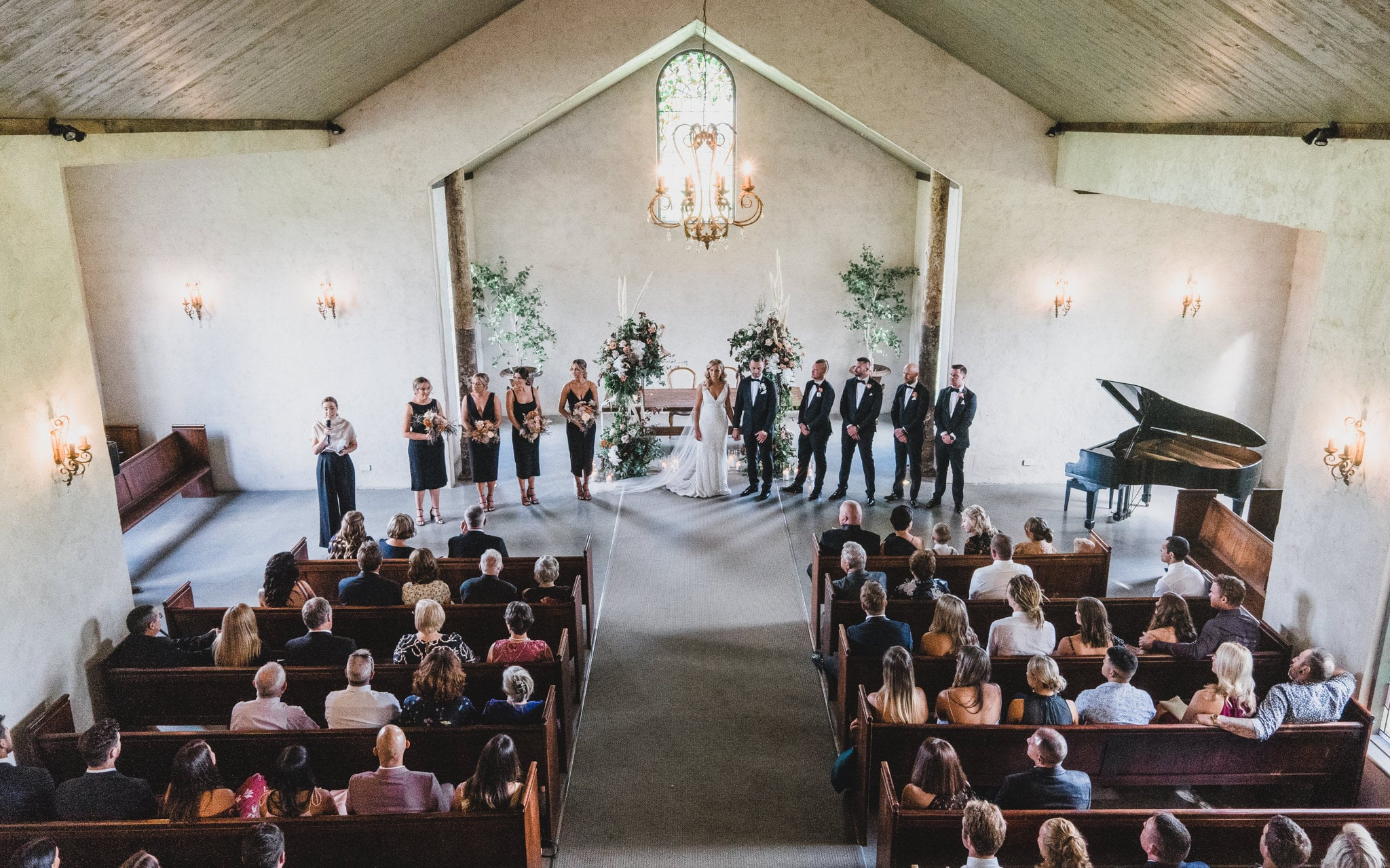 View of the whole wedding ceremony from above in the Chapel