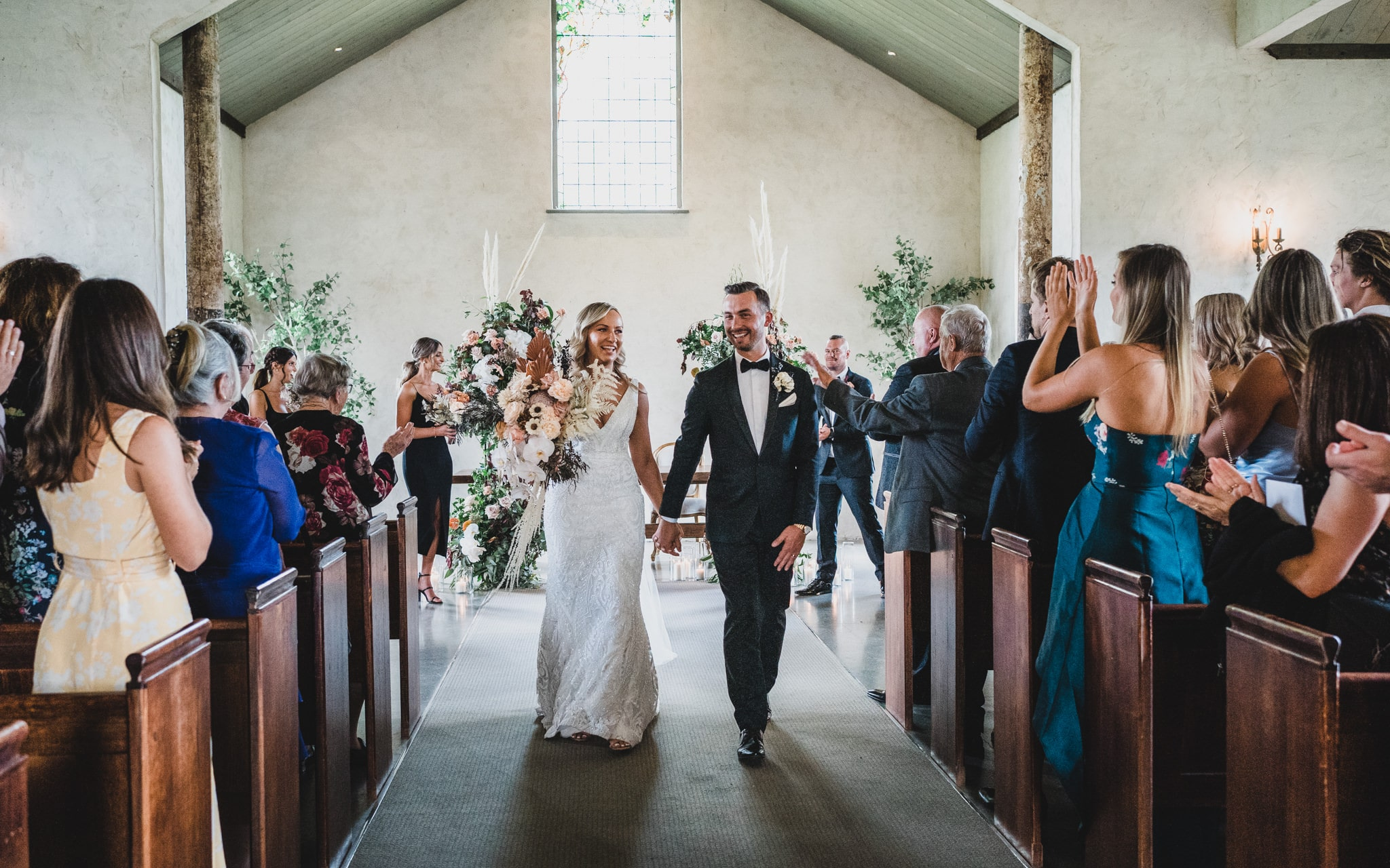Walking back down the isle after the ceremony