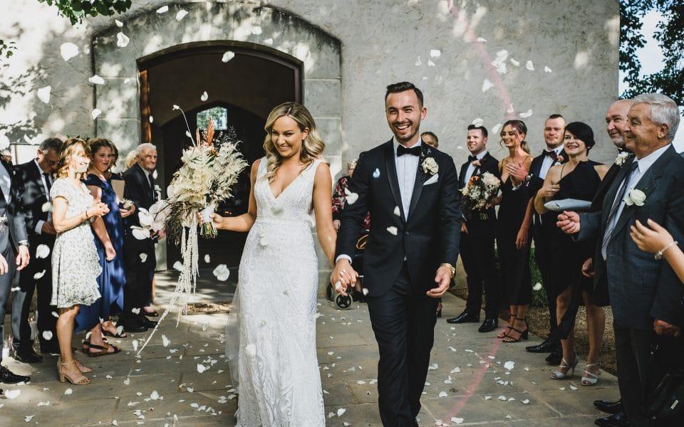 Stones of the Yarra Valley wedding photos petal throw