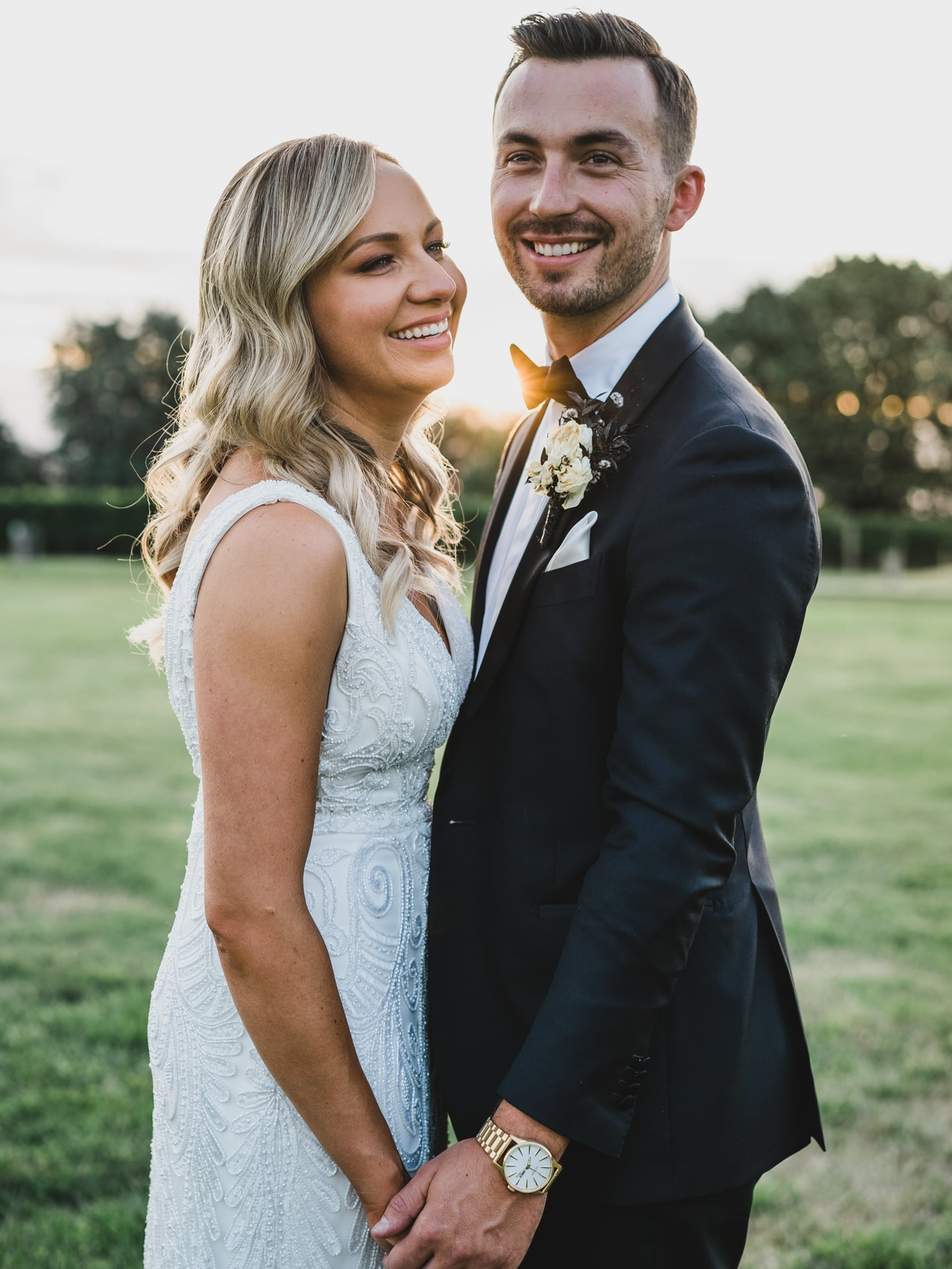 Bride and Groom laughing during sunset golden hour at Stones of the Yarra Valley, Melbourne.