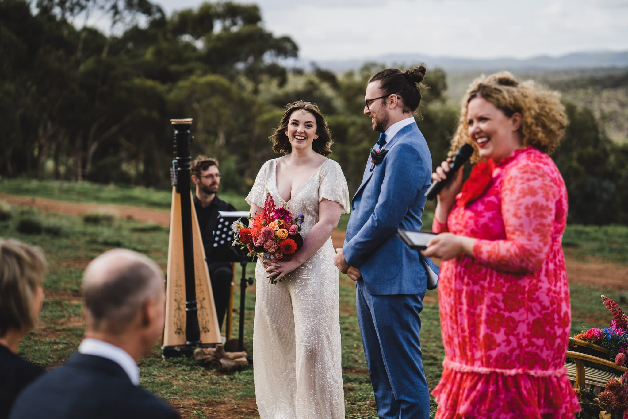 Kate & Brodie at their Camp Sunnystones wedding festival