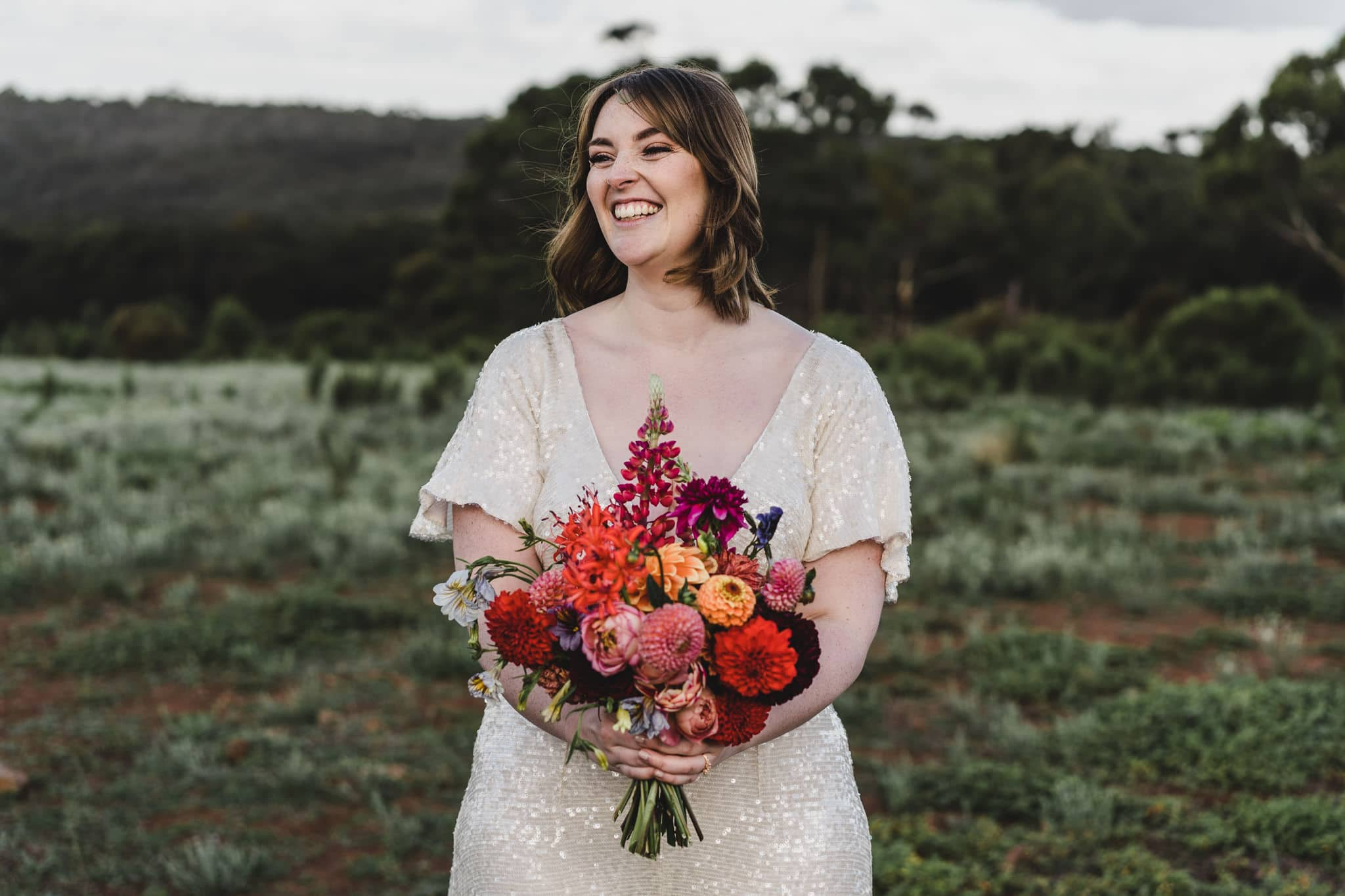 The bride's bouquet was made by Georgie Boy